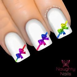 RAINBOW BOWS Ribbon Nail Water Transfer Decal Sticker Art Tattoo