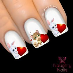 KITTEN BUNNY LOVE Valentines Day Nail Water Transfer Decal Sticker Art Tattoo