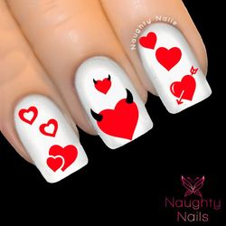 RED HEARTS LOVE Valentines Day Nail Water Transfer Decal Sticker Art Tattoo