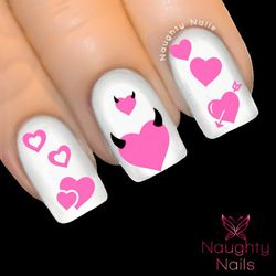 LIGHT PINK HEARTS LOVE Valentines Day Nail Water Transfer Decal Sticker Art Tattoo