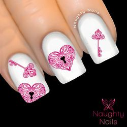 PINK HEART LOCK & KEY Love Valentines Day Nail Water Transfer Decal Sticker Art