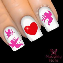 PINK CUPID HEART Love Valentines Day Nail Water Transfer Decal Sticker Art