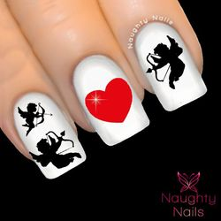CUPID HEART Love Valentines Day Nail Water Transfer Decal Sticker Art