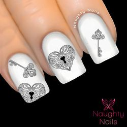 PLATINUM HEART LOCK & KEY Love Valentines Day Nail Water Transfer Decal Sticker Art