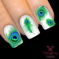 ETHEREAL JADE PEACOCK Feather Nail Water Transfer Decal Sticker Art Tattoo