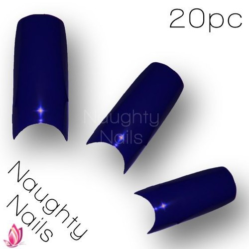 20pcs ♥ SAPPHIRE BLUE ♥ SOLID COLOUR French Salon Design Nail Acrylic Gel Tips