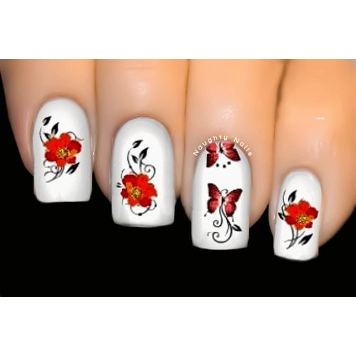 Abundant Red - BUTTERFLY Nail Art Water Tattoo Transfer Decal Sticker #2073