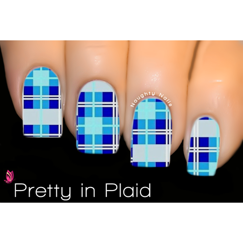 Pretty in Plaid - FULL COVER Nail Water Tattoo Transfer Decal Sticker XF1540