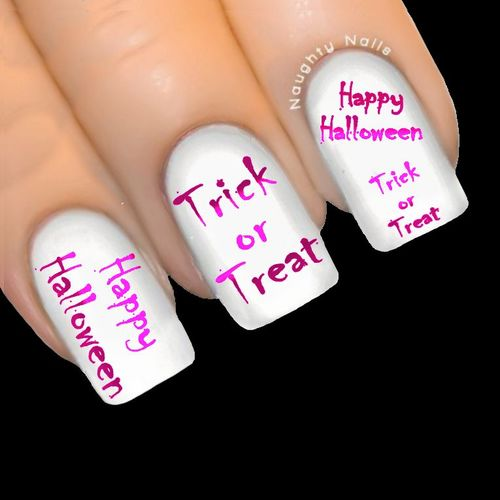 Pink HAPPY HALLOWEEN Nail Water Transfer Decal Sticker Art Tattoo