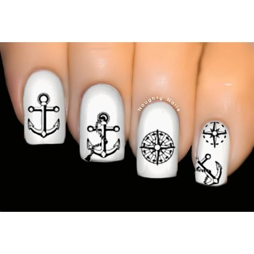 Black Nautical Anchor Compass - INSPIRED Nail Water Tattoo Decal Sticker D-239B
