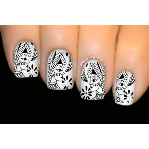 Black Argentan - LACE Nail Art Water Transfer Tattoo Decal Sticker D-215B