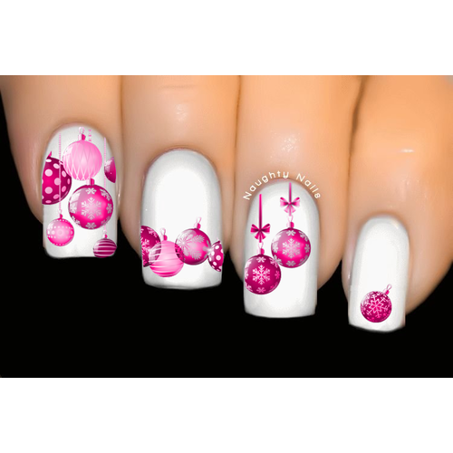 Pink Baubles Christmas Nail Decal Xmas Water Transfer Sticker Tattoo