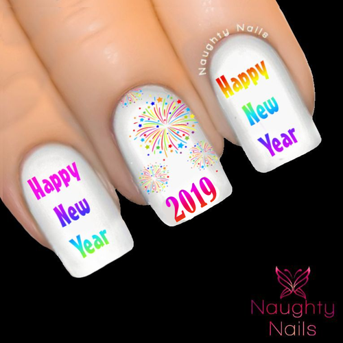 Rainbow HAPPY NEW YEAR 2016 Party Nail Water Transfer Decal Sticker Fireworks