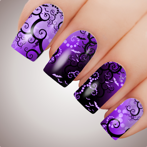TWISTED DARKNESS - Halloween Witch Full Nail Art Decal Water Transfer Tattoo