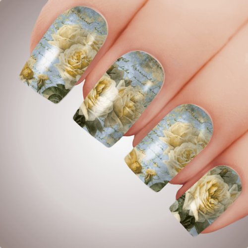 YELLOW POETRY ROSE Floral Full Cover Nail Decal Art Water Slider Transfer Tattoo Sticker