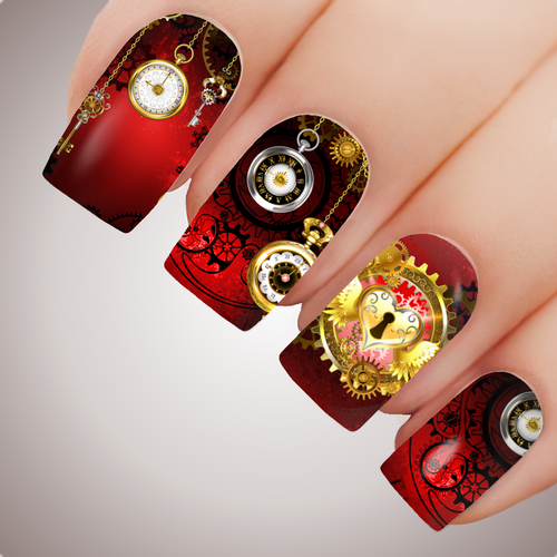 RUBY CLOCKWORK CITY Steampunk Full Cover Nail Decal Art Water Slider Transfer