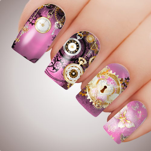 CANDY CLOCKWORK CITY Steampunk Full Cover Nail Decal Art Water Slider Transfer