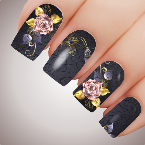 DARK ROSE Floral Full Cover Nail Decal Art Water Slider Transfer