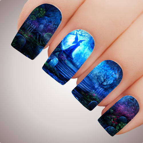 ENCHANTED GRAVEYARD - Halloween Tombstone Full Nail Art Decal Water Transfer Tattoo