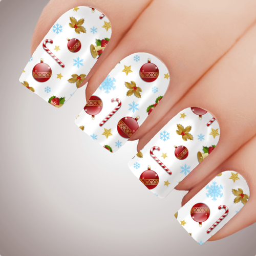 CHRISTMAS WRAPPING PAPER Xmas Nail Decal Water Transfer Sticker Tattoo