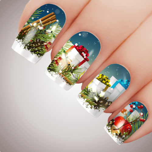 ALL WRAPPED UP Christmas Presents Nail Decal Water Transfer Xmas Sticker Tattoo