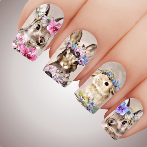 Natural FLOWER GARDEN BUNNY Easter Nail Art Water Decal Transfer Sticker Tattoo