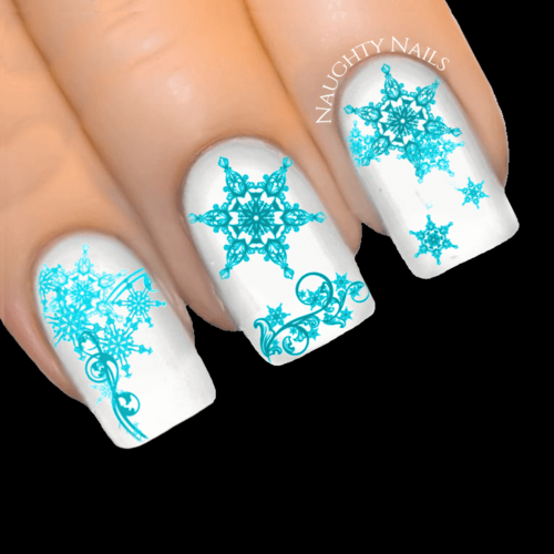 TURQUOISE ENCHANTED SNOWFLAKE Christmas Nail Decal Xmas Water Transfer Sticker Tattoo